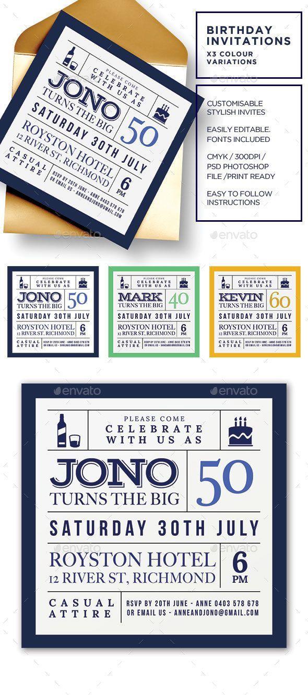 Birthday Invitations - Adult Male Birthday invitations adult - birthday invitation card template photoshop