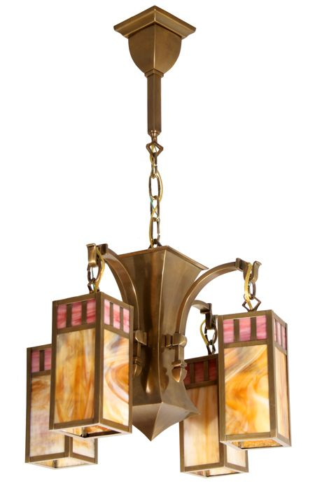 Antique Ceiling Fixture Circa 1910 Four Light Arts and Crafts Tear Drop Fixture with Elongated Butterscotch and Pink Glass Lanterns. Antique Brass Finish.  sc 1 st  Pinterest & Antique Ceiling Fixture Circa 1910 Four Light Arts and Crafts Tear ...