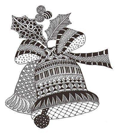 Zentangle Christmas Bells Print Out Drawing Zentangle Patterns Zentangle Drawings Christmas Tree Zentangle