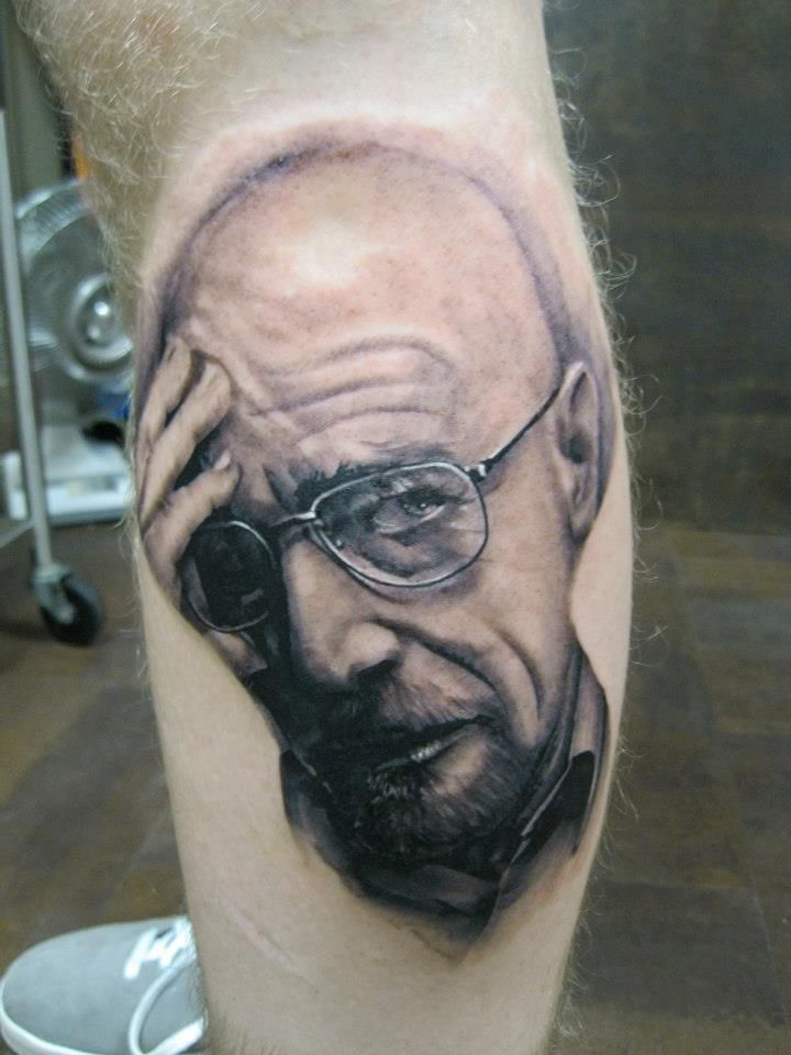 Walter White Tattoo by Lucas Frazier in Asheville, NC https://www.facebook.com/LucasFrazierExhibition