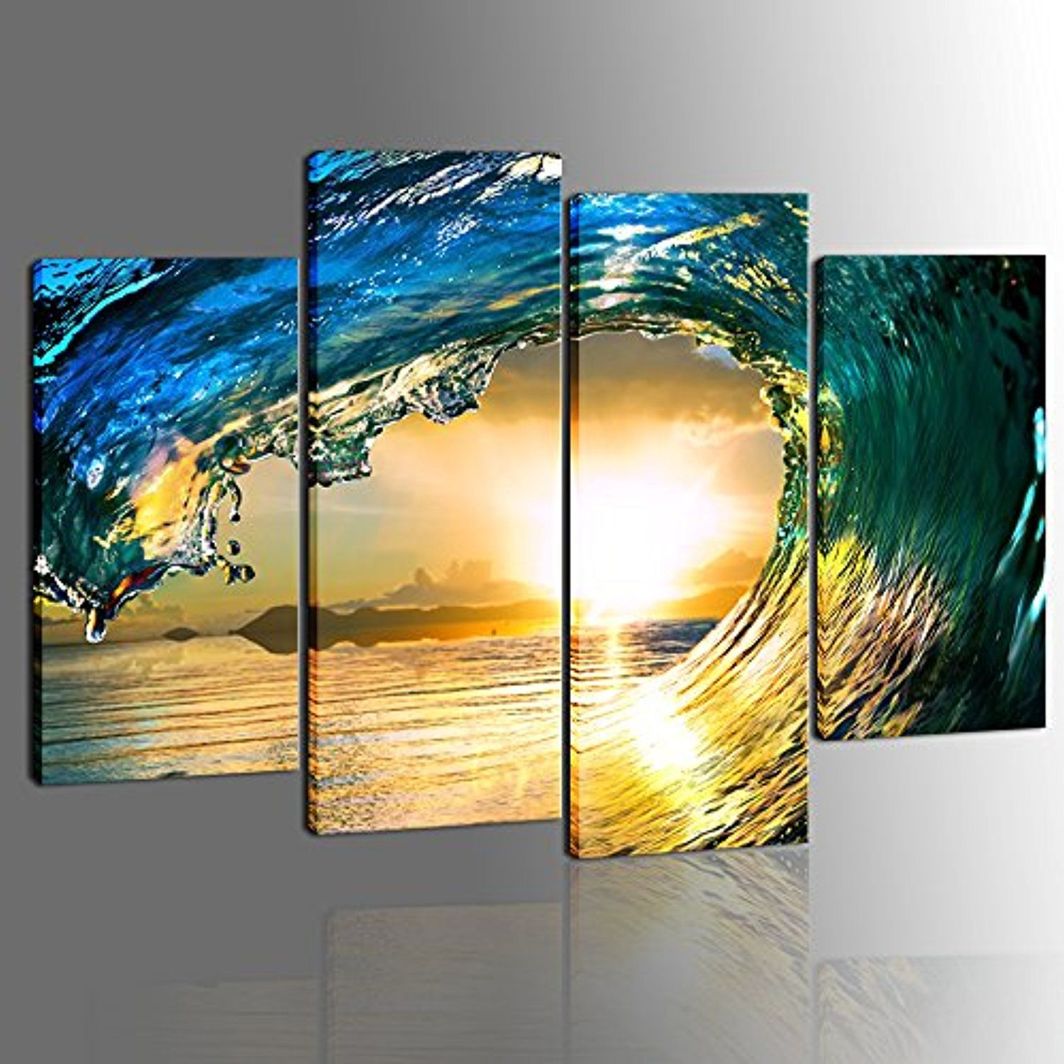 DUNHUANG- Green Wave with Seascape Canvas Wall Art 4 Piece Stretched ...