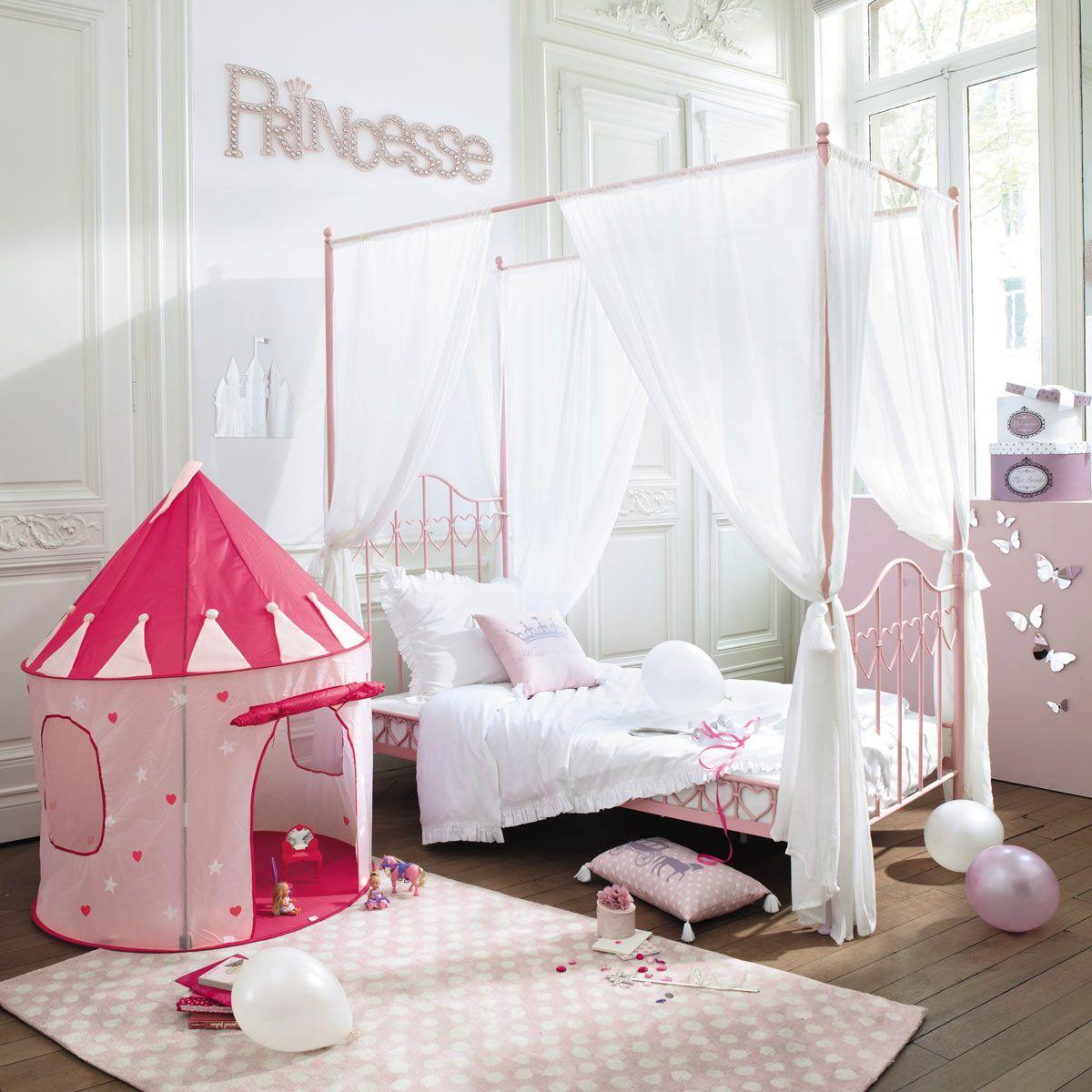 lit à baldaquin enfant 90x190 en métal rose | baldaquin, lits et roses
