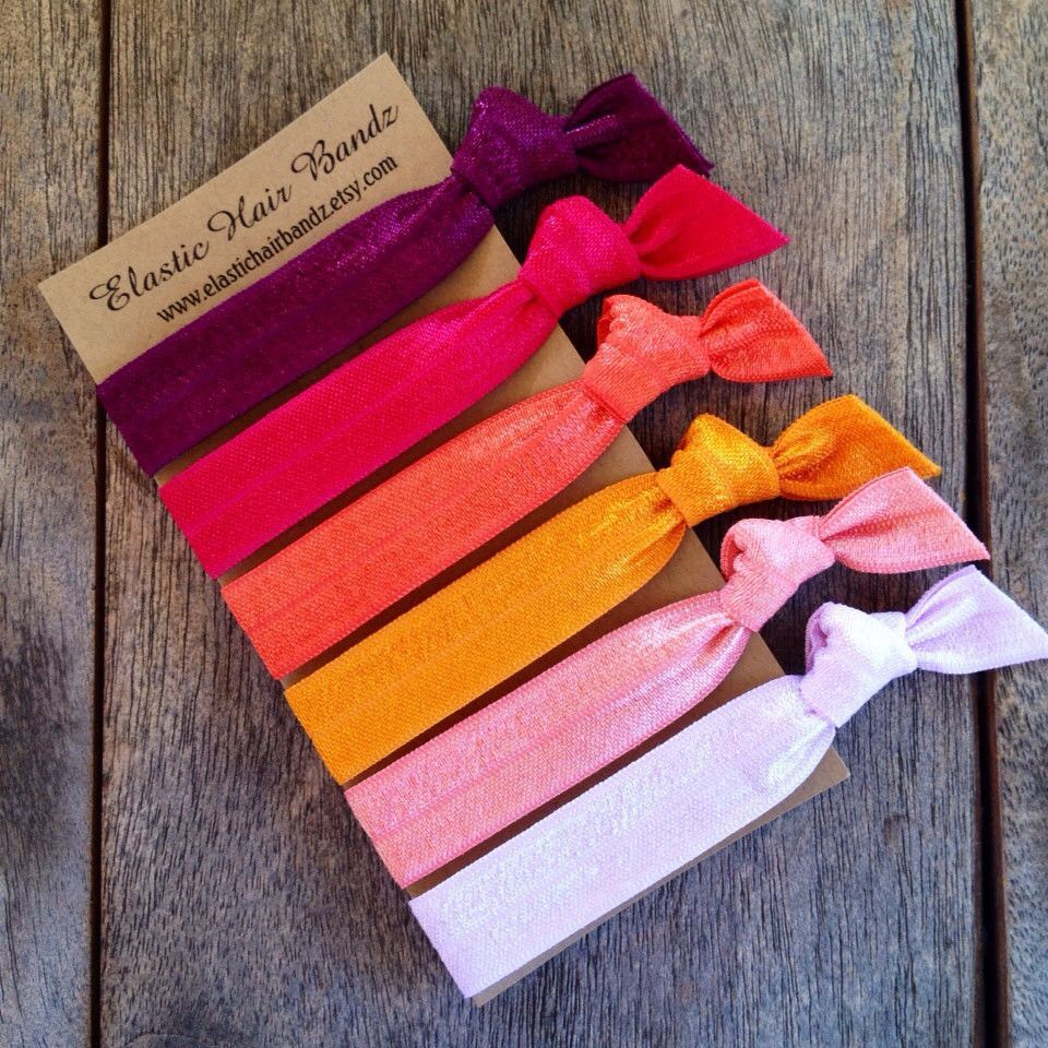 6 of Elastic Hair Bandz Hand Dyed hair ties-ponytail holders. Heat Sealed  to help prevent fraying. Elastic hair bandz hair ties are made with a soft  ... ff0f2931823