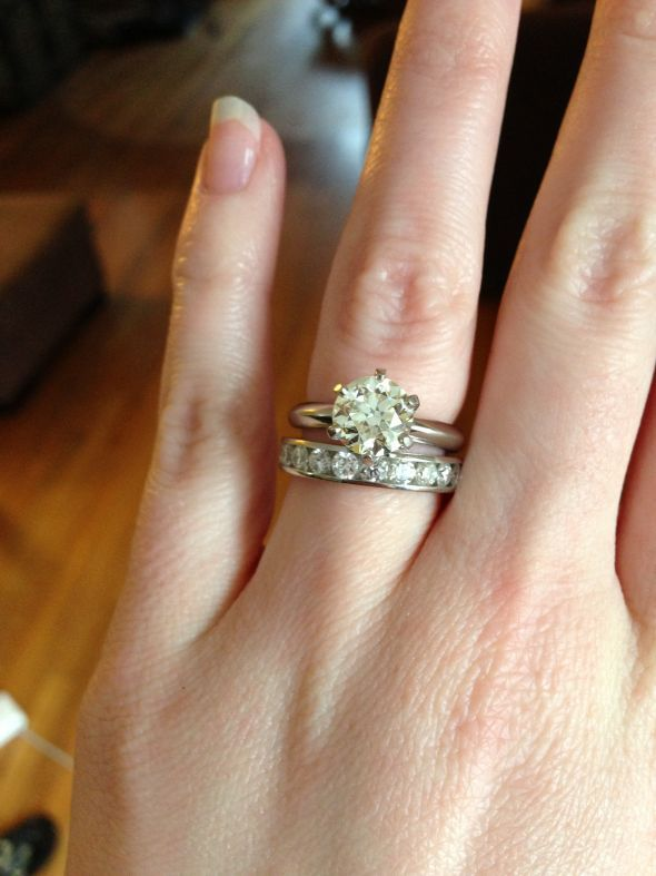 Show me your solitaire engagement ring w wedding band Weddingbee