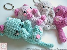 Free Kawaii Amigurumi Patterns : Pattern free kawaii keychains teddy mouse kitten and pig come