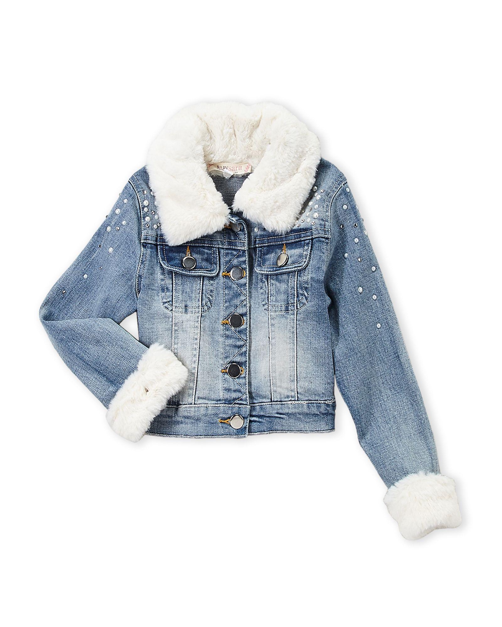 Baby Sara Toddler Girls Faux Fur Trim Denim Jacket Estilo Chique Meninas Estilo [ 2000 x 1600 Pixel ]