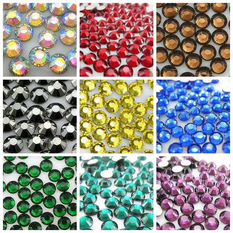 22 Colors 1000pcs 6mm High Quality Acrylic Nails Rhinestones Crystal