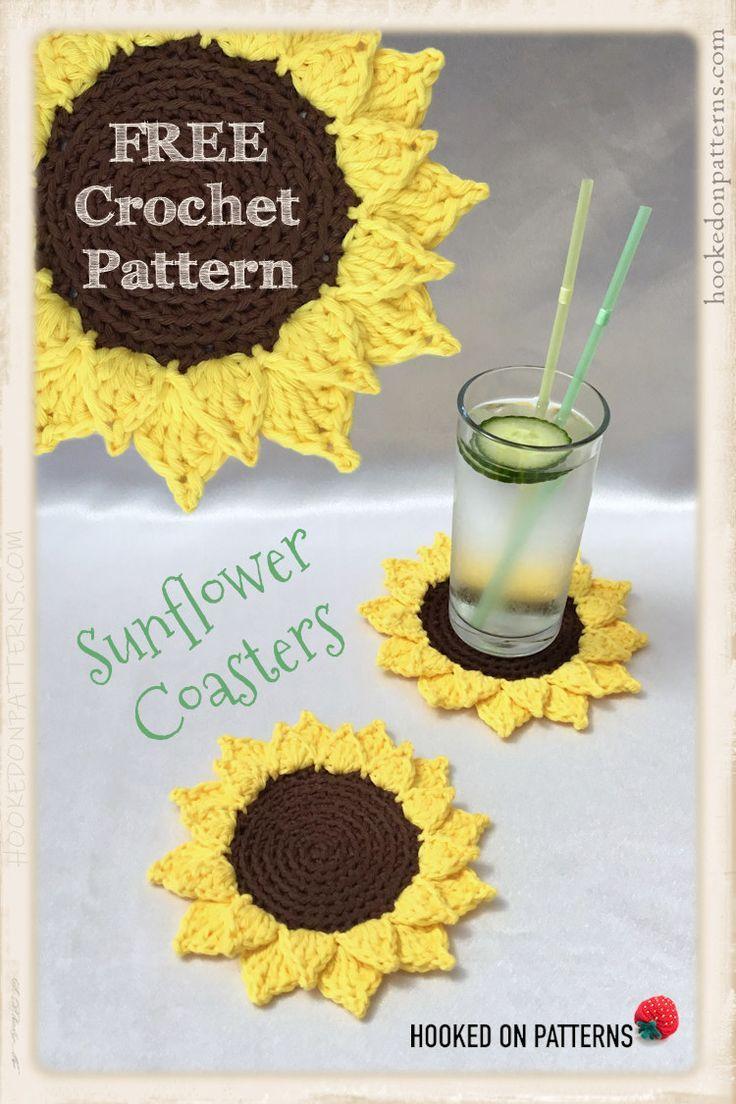 Patron de crochet gratuit de sous-verres de tournesol   – Crochet Ideas