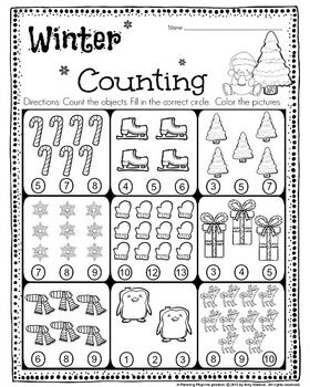 Kindergarten Math And Literacy Printables December Counting Worksheets For Kindergarten Counting Kindergarten Kindergarten Math Counting