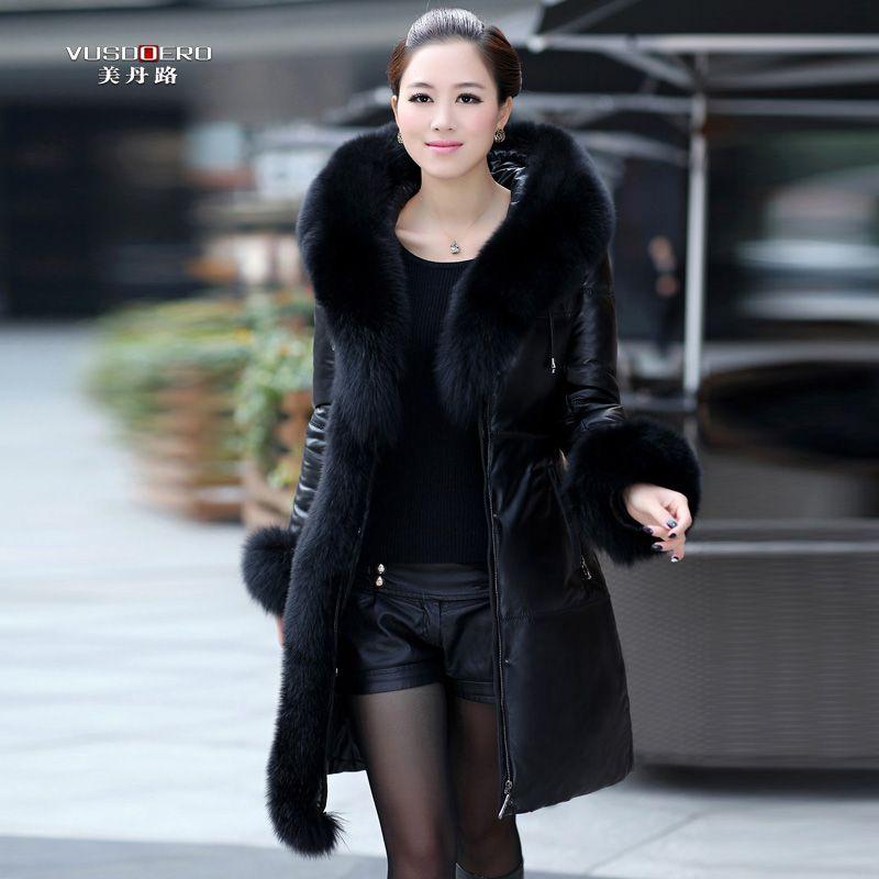 4b41f8c104 Winter dress genuine leather down coat female sheepskin mink coat fox fur  long slim design women tassel leather clothing jacket $499.99