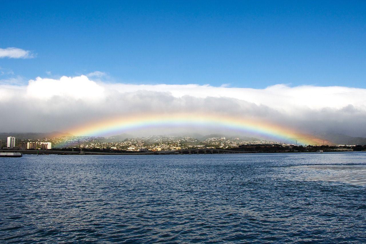 Island Honolulu Oahu Rainbow Pearl Harbor Rainfal Island