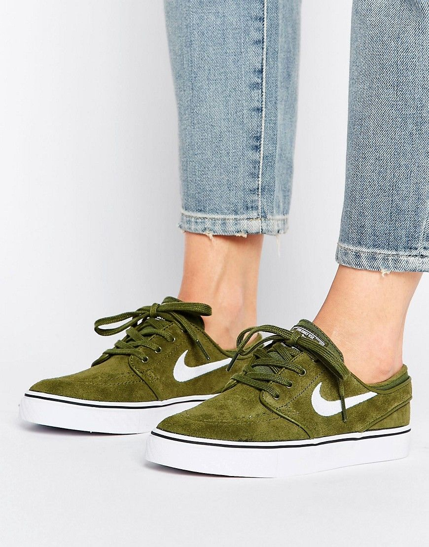 the latest 98e25 ec2b2 Buy it now. Nike SB Zoom Janoski Trainers In Khaki - Green. Trainers by Nike,  Suede upper, Lace-up fastening, Nike Swoosh to side-panel, Padded for  comfort, ...