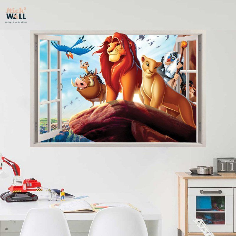 Kids bedroom 3d wall sticker vinyl decal window view Lion King from stick2wall.com