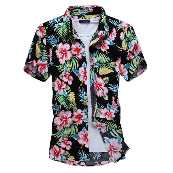 Summer Mens Fashion Flower Shirt Casual Slim Fit Short Sleeve ...