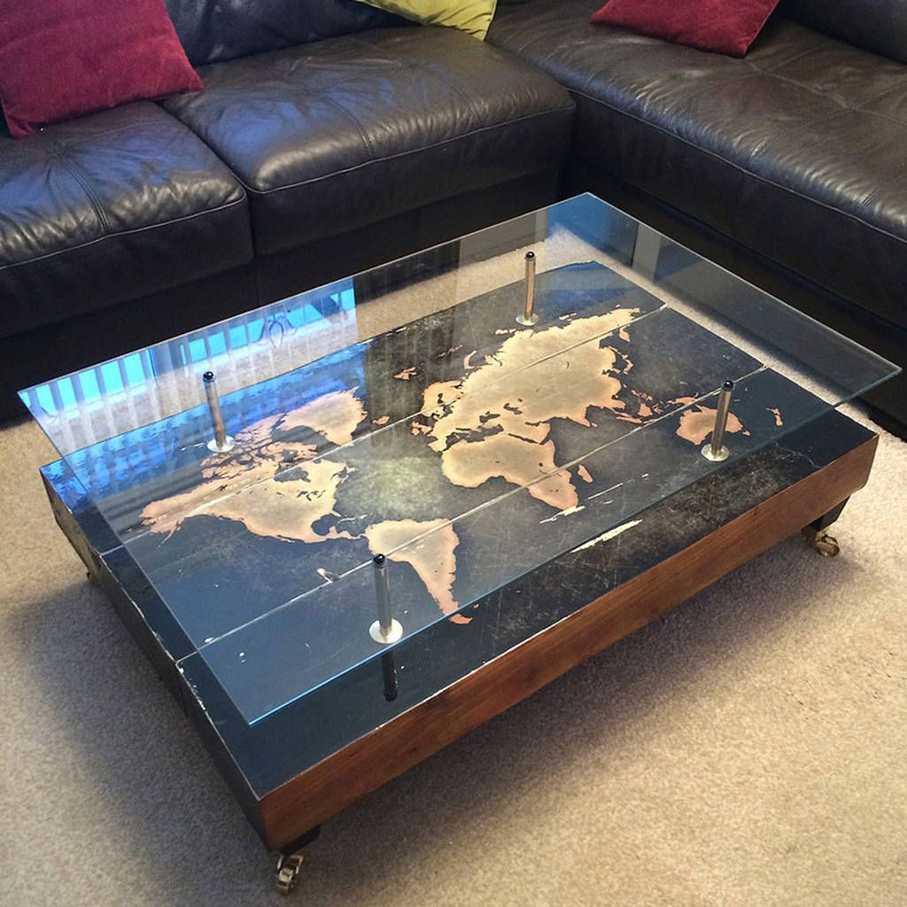 Handmade Vintage World Map Coffee Table Coffee Antique coffee