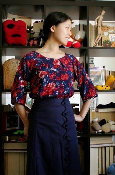 Patrón gratis: blusa fácil con manga ranglán (patrón para descargar e imprimir de 12 hojas)