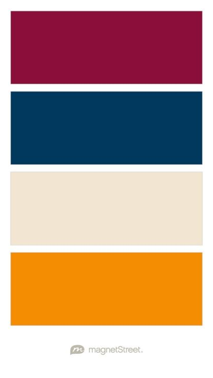 Burgundy, Navy, Champagne, and Tangerine (Mustard yellow) Wedding Color Palette - custom color palette created at MagnetStreet.com