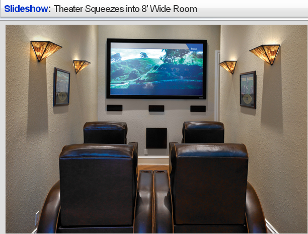Theater Squeezes Into 8 Wide Room Small Home Theaters Small