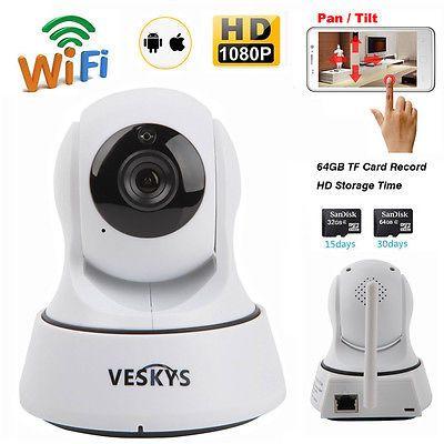 Wireless 1080P Pan Tilt Network Home CCTV IP Camera IR Night Vision WiFi Webcam