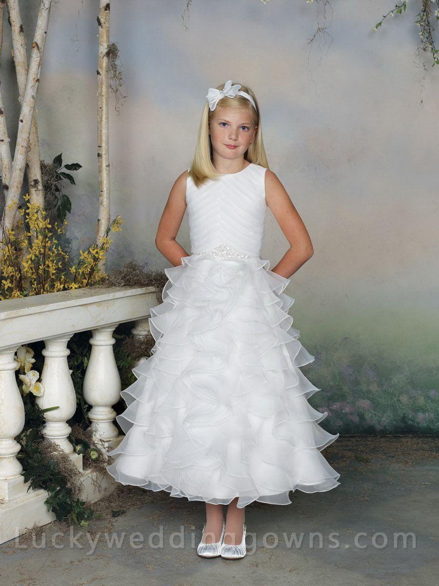 Sleeveless Tea-length Flower Girl Dress with Tiered Skirt