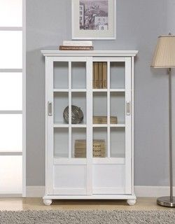 Altra Bookcase With Sliding Gl Doors In High Gloss White Modern Bookcases By Wayfair