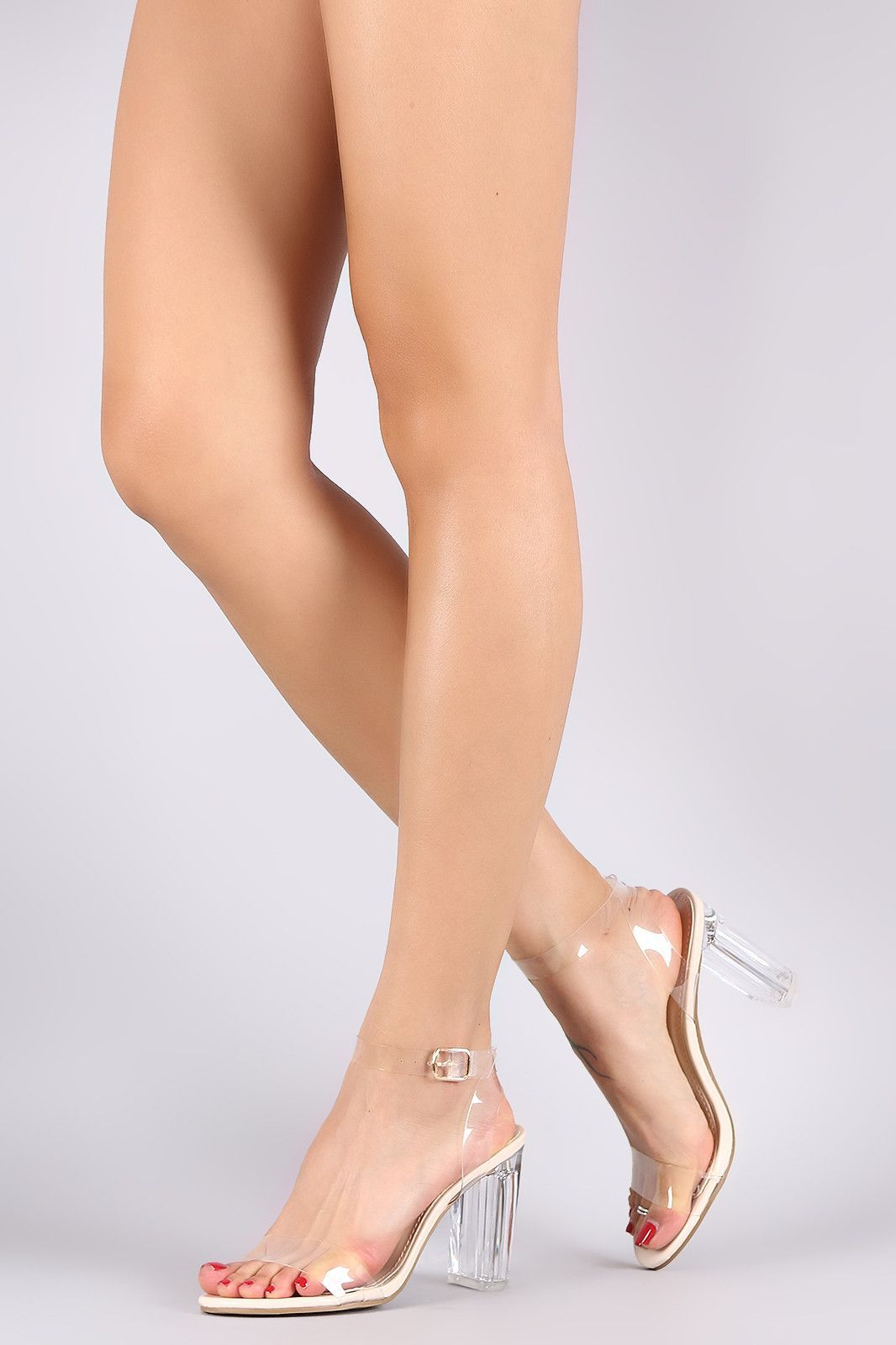Transparent Ankle Strap Chunky Lucite Heel  sandalsheelscasual ...