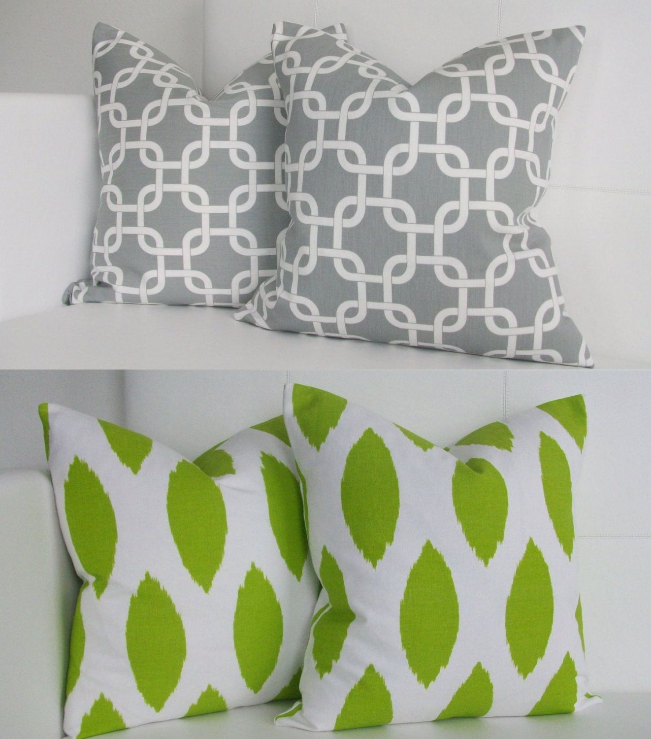 Four Gray And Green Throw Pillow Covers Modern Decorative