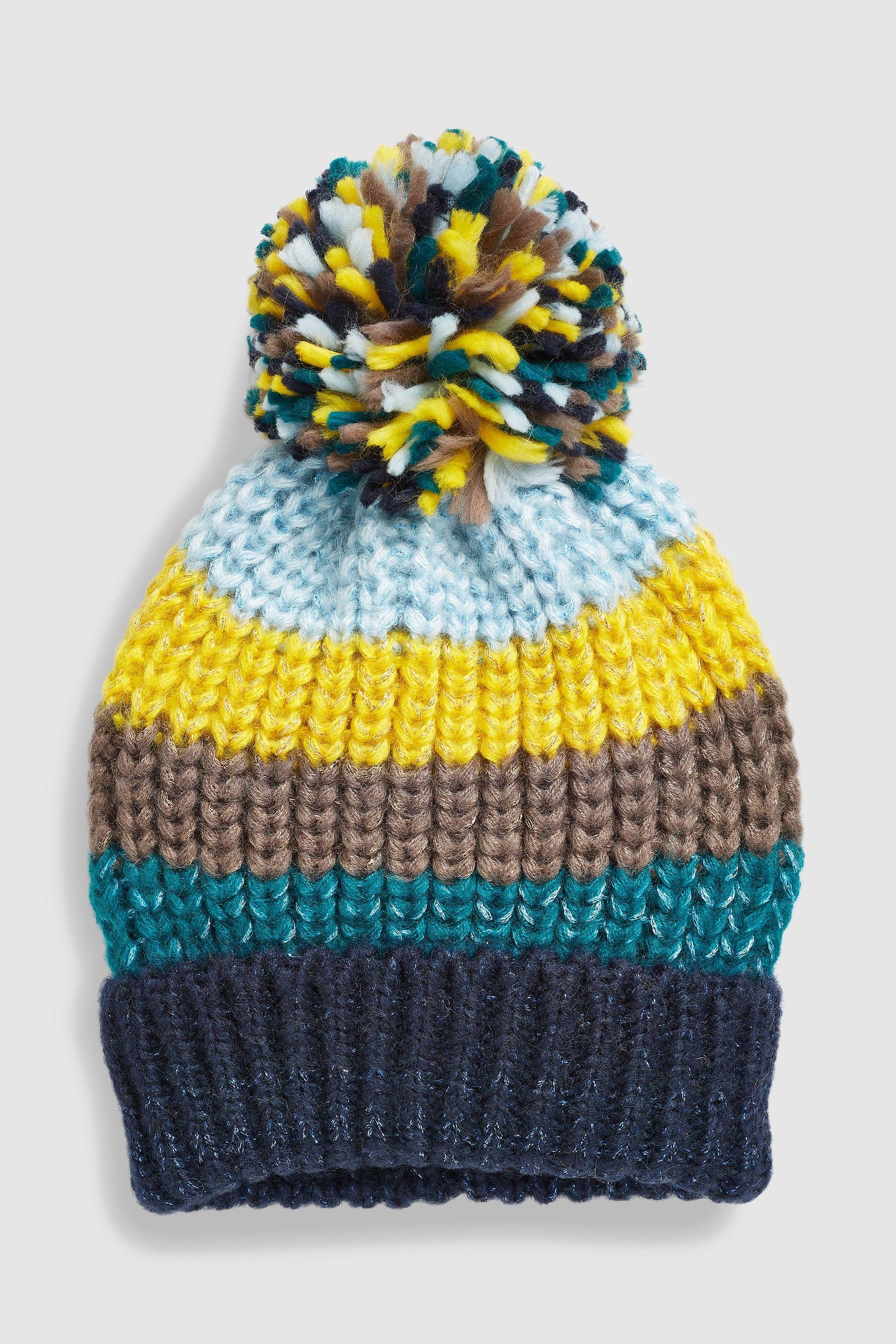 8830ce4d9e0 Womens Next Navy Stripe Pom Hat - Blue
