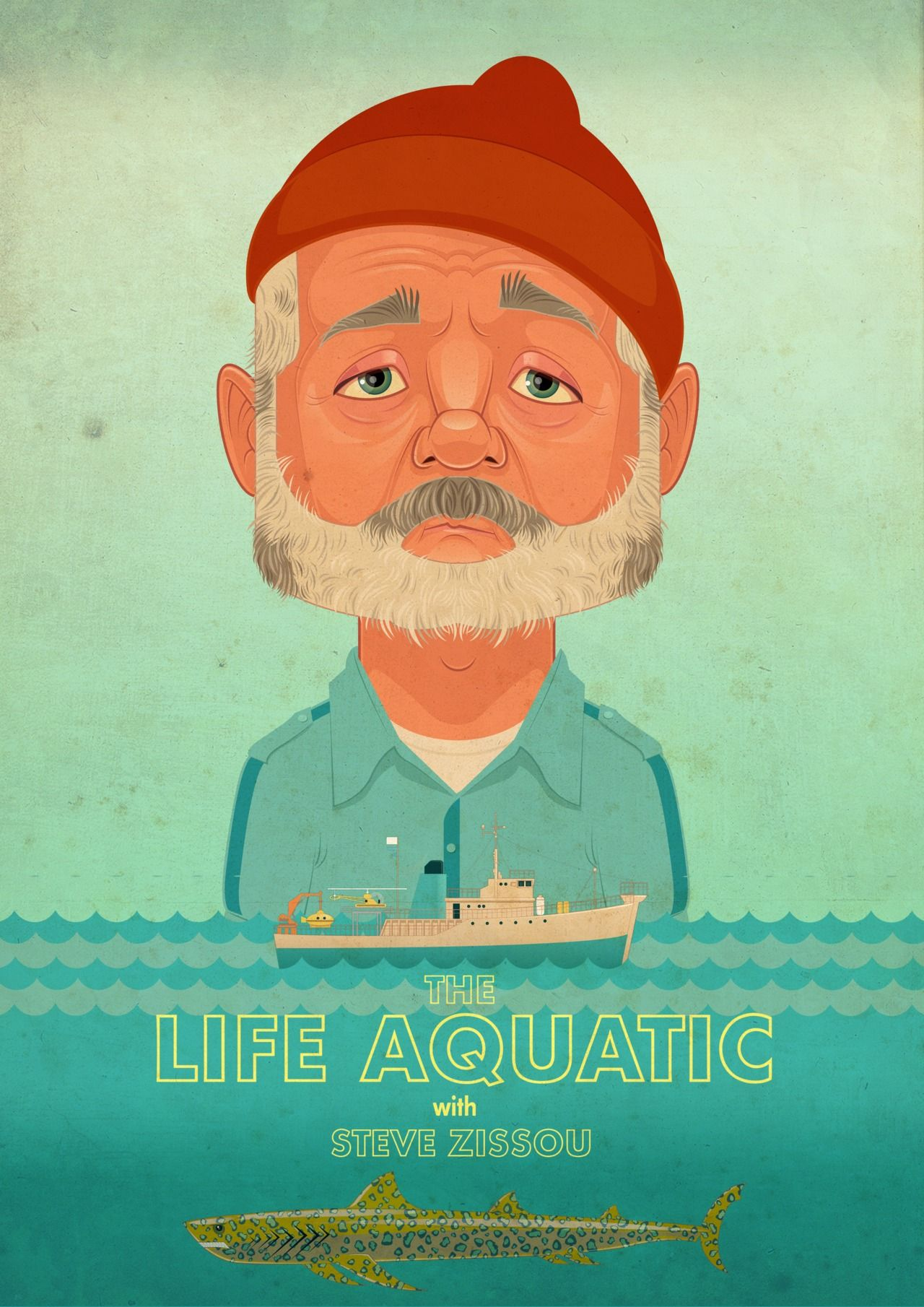 The Life Aquatic James Gilleard Giclee Print Framed 11 3 4 X 16 1 2 Life Aquatic Steve Zissou Alternative Movie Posters