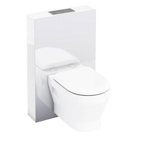 Aqua Cabinets W550 X D150mm Tablet Wall Hung Wc Unit With Pan Cistern Flush Plate White Wall Hung Toilet