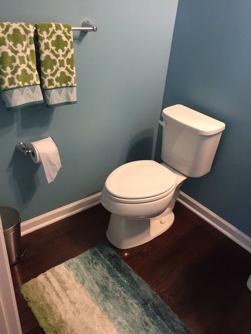 Sherwin Williams Open Seas In Our Powder Room Towels And