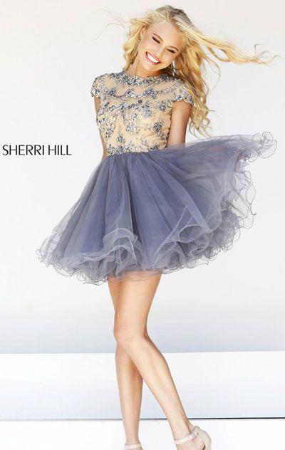 2014 Cap-Sleeves Sherri Hill 21304 A-Line Nude/Gunmetal Tulle ...