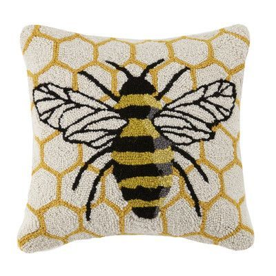Peking Handicraft Bee Hive Bee Hook 100 Wool Throw Pillow Throw Pillows Wool Throw Pillows Boho Pillows