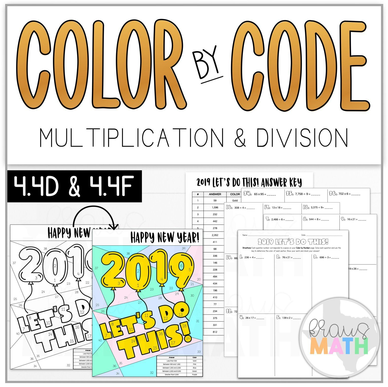 Color By Number New Years Multiplication Amp Division