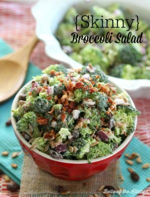 Skinny Broccoli Salad Recipe Recipes Salad Broccoli Salad