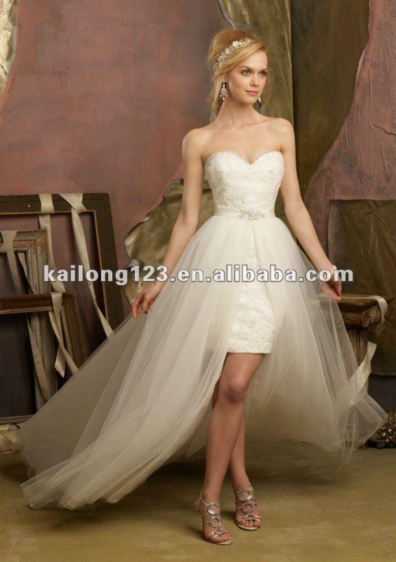 Lovely Sweetheartt Beaded Lace Short With Tulle Overskirt Designer Wedding Dresses