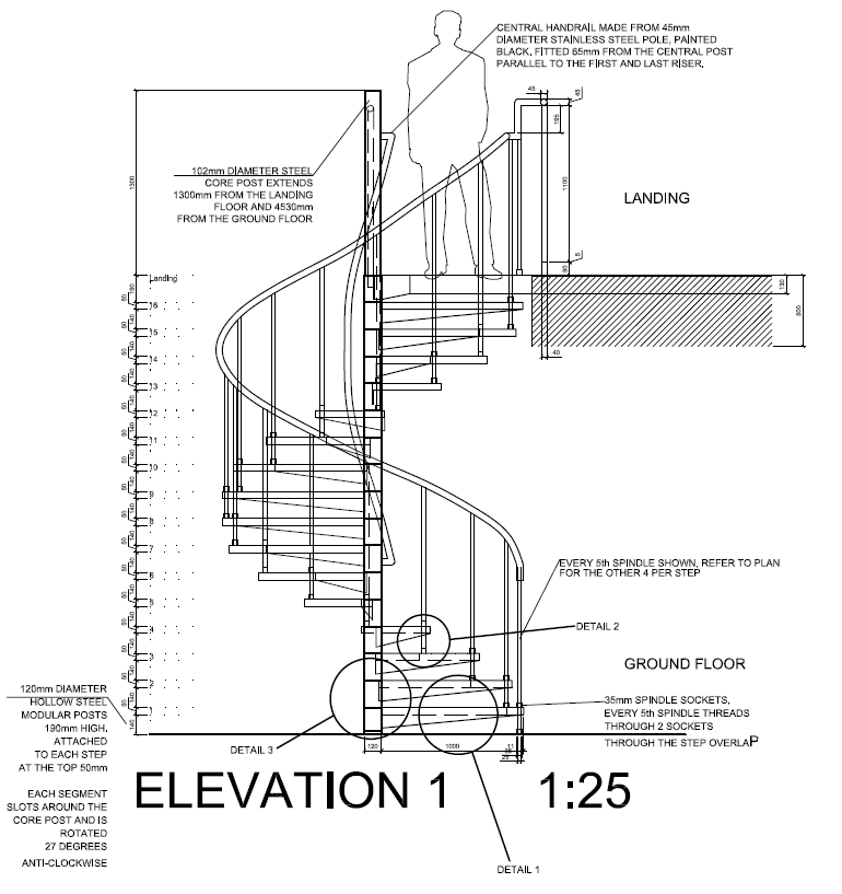 Autocad 2012 spiral staircase detail drawings plan Spiral stair details