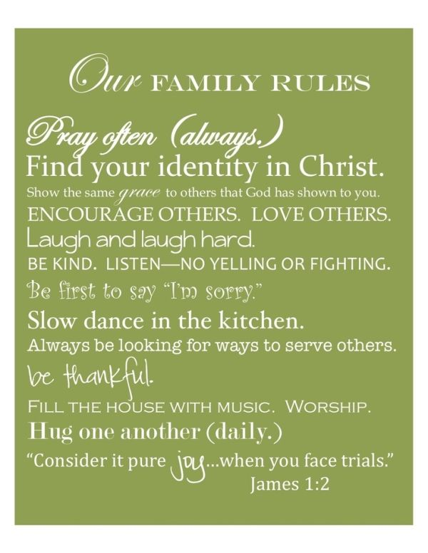 Free Printable By House Of Hydrangeas Family Rules Abbyy