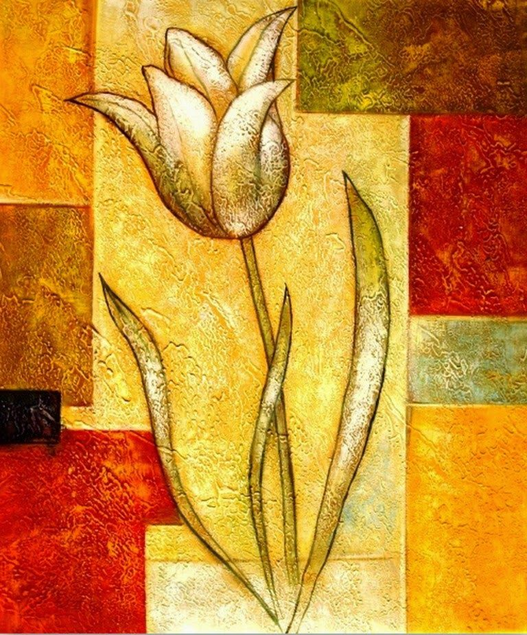 Pinturas de flores en oleo abstractas y modernas cuadros - Cuadros flores modernas ...