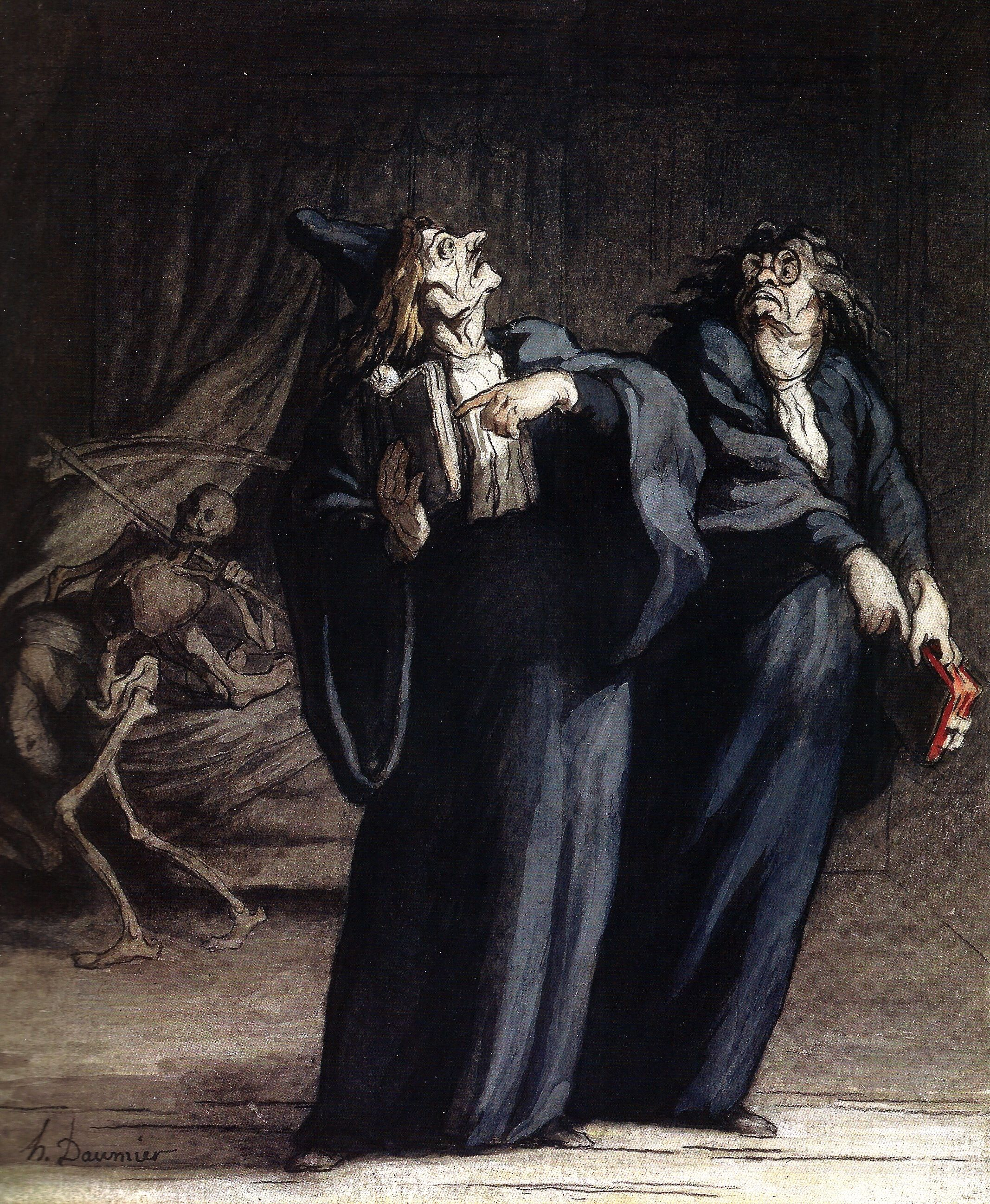 The Two Doctors and Death : Honore Daumier : Realism : allegorical painting - Oil Painting Reproductions Caricatures, Art Of Noise, Honore Daumier, Second Doctor, Reproduction, Art Database, Wood Engraving, Illustrations, Memento Mori