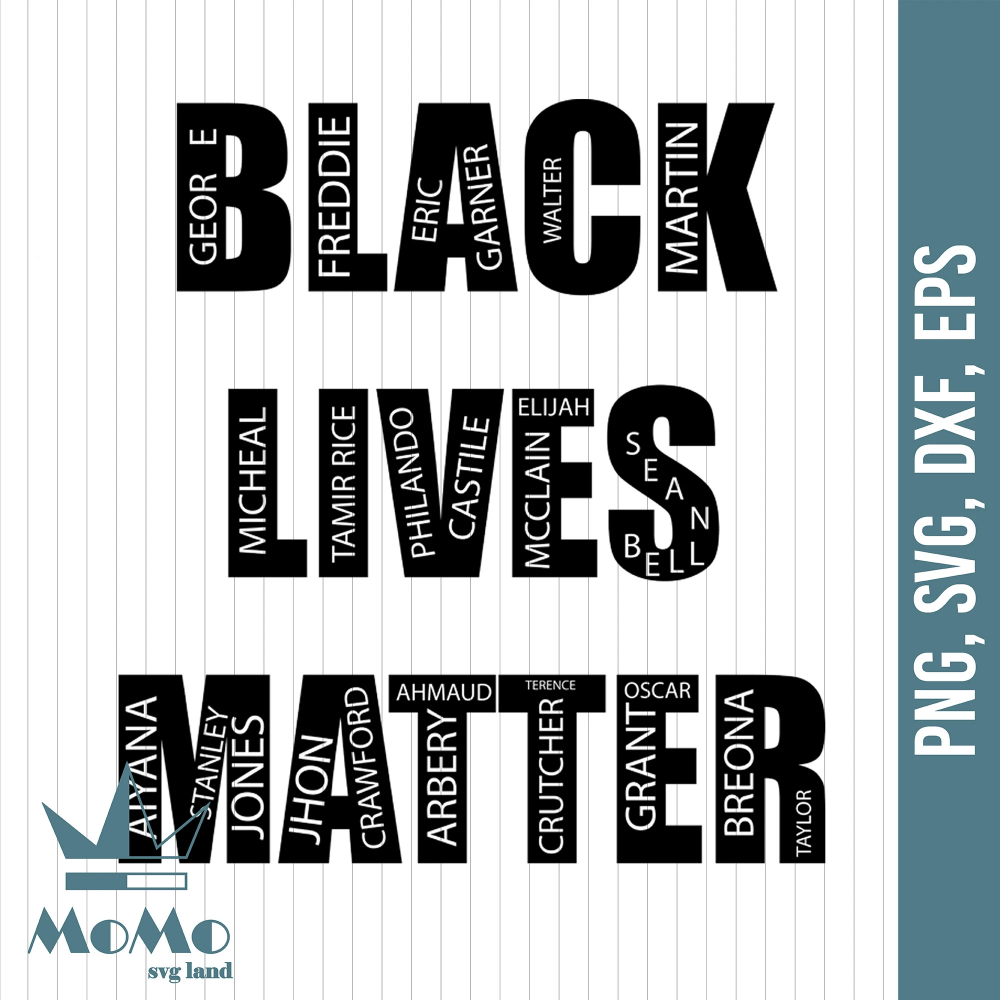Black Lives Matter Blm With Victim Names Say Their Names Svg Digi Momosvgstore Trong 2020