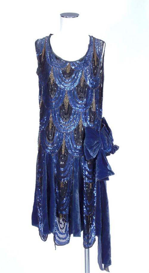 A blue velvet sequinned 1920\'s dress\