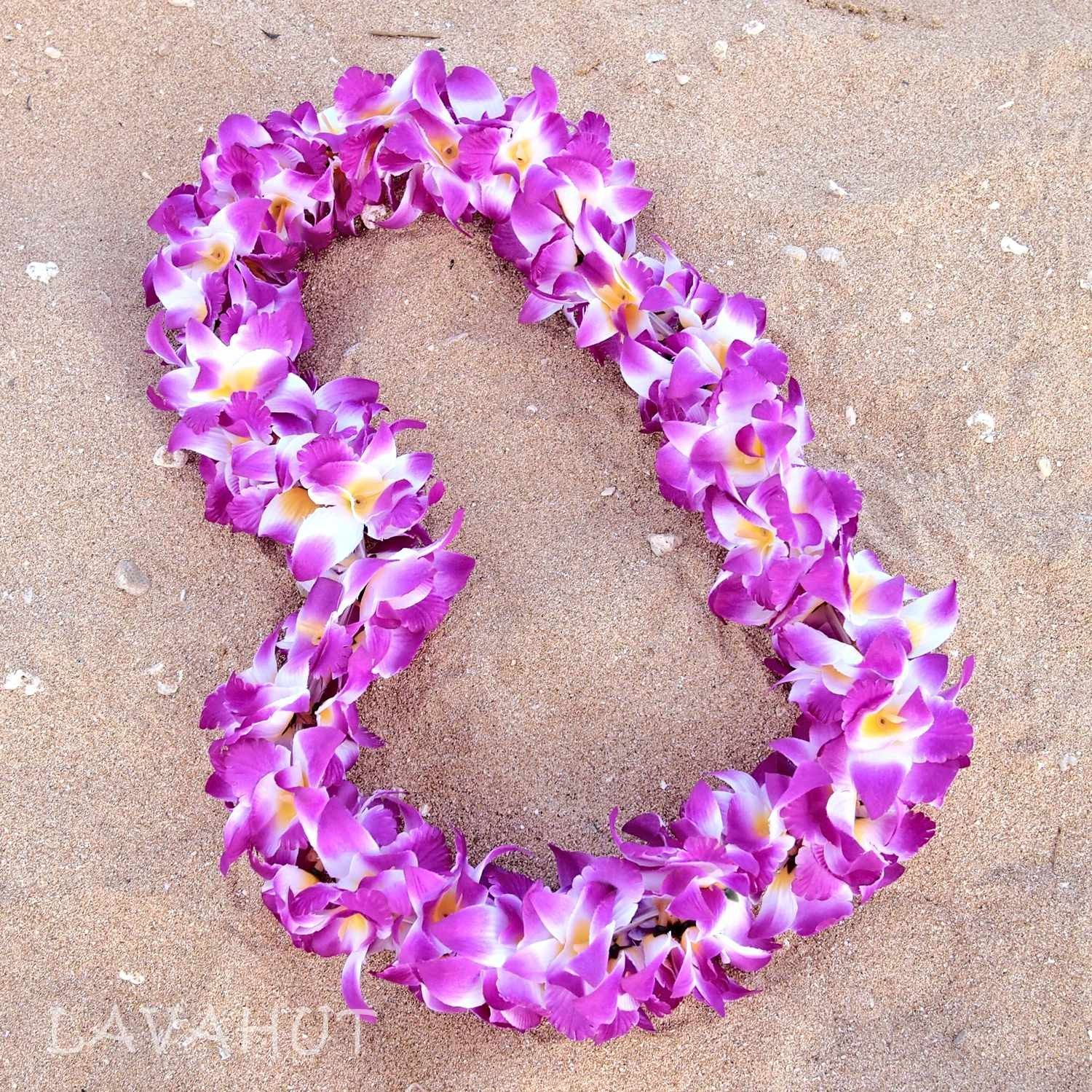 Orchid purple hawaiian flower lei pinterest flower lei hawaiian orchid purple hawaiian flower lei izmirmasajfo