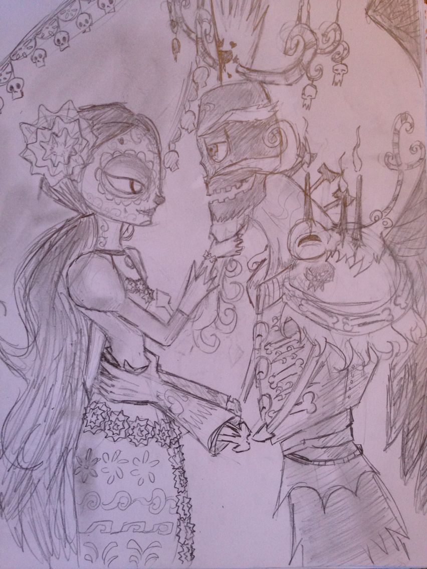 Coloring the book of life - Unfinished Wip La Muerte And Xibalba From The Book Of Life It S The Best Movie