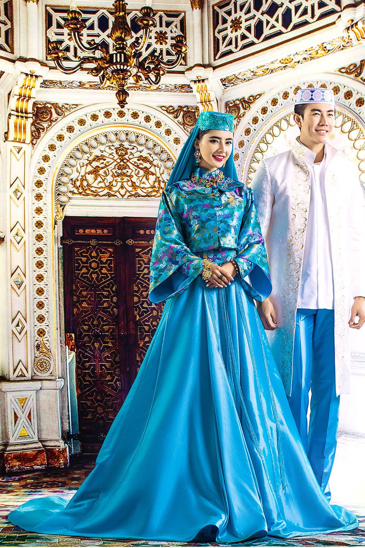 Elegant Royal Blue Abaya Dubai Muslim Stain Islamic Arabic Prom ...