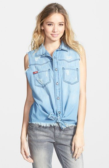 65228bc49ab Lee Cooper Distressed Sleeveless Chambray Top (Juniors)