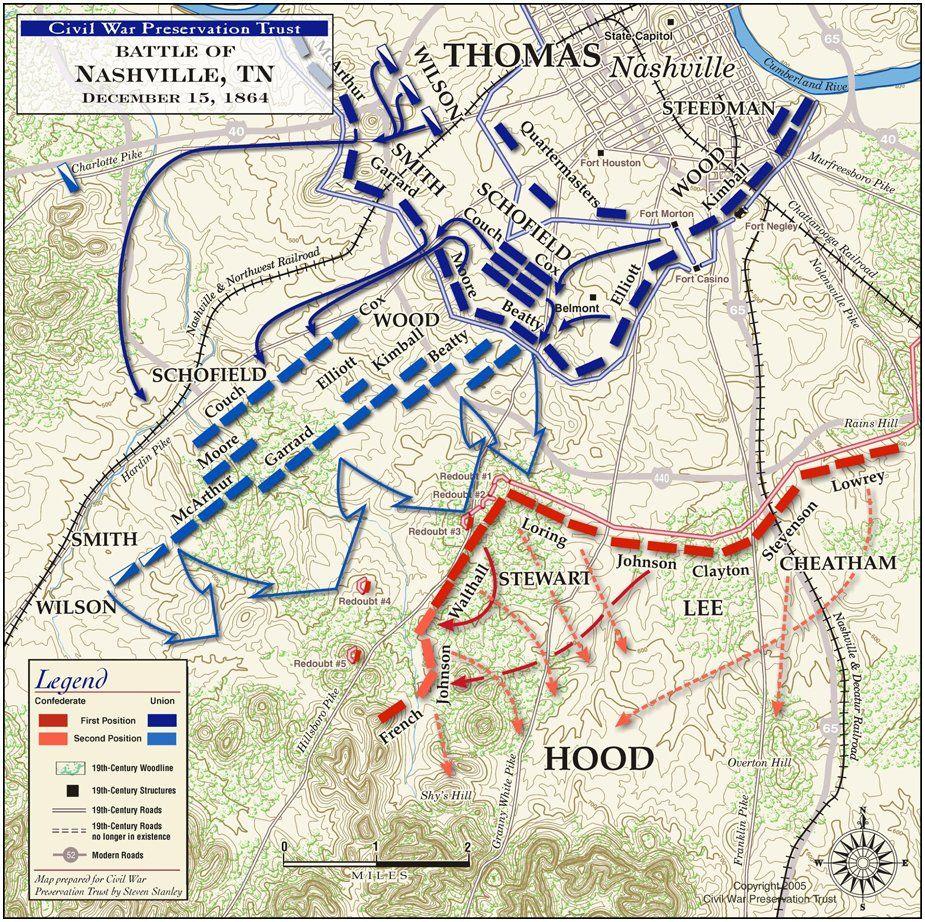 Civil War Battle Maps Battle Of Nashville December 15 1864 - Map Of Us Before Civil War