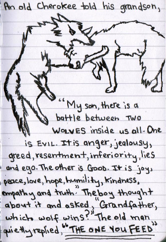 There is a battle between two wolves inside of us all