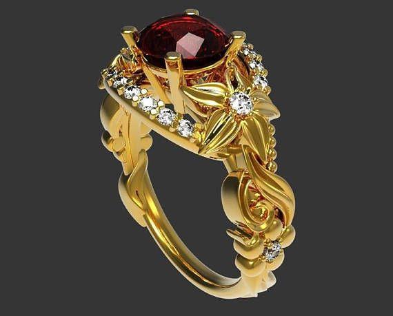 Filigree Ring Asian Ruby Ring Flower Ring Leaf Ring Leave Ring