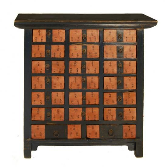 Paa Red Chinese Apothecary Cabinet